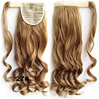 Beauty Wig World 21 inches 55cm 100g Two Tone Long Wavy Curly Woman Claw Clip Ponytail Clip on/in Hair Extensions #10T16 Light Brown/ Light Blonden
