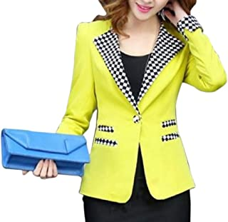 Womens One Button Blazer Long Sleeves Jacket Office Cardigan Casual Plaid Blazers