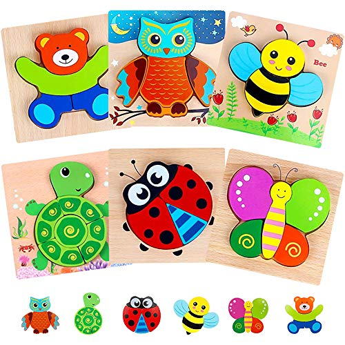 NIYIKOW Wooden Toddler Puzzles Toy Gift Set, 6 Pack Animal Puzzles for Toddlers Kids 1-3 Years Old, Learning Educational 6 Animal Shape Jigsaw