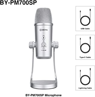 BOYA BY-PM700SP USB Condenser Microphone for iOS Android Windows Mac Computer Mics for Recording Broadcasting Padcasting