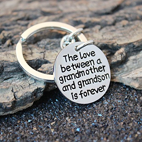 Christams Thanksgiving Key Chain Ring Family Gift The Love Between a Grandmother and Grandson is Forever Photo #7