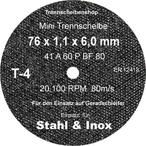 TTT-4_20 Stück. Trennscheibe, Ø 76 x 1,1 x 6,0 mm, Inox Edelstahl Eisen und sulfatfrei, Profi Scheibe, Super Premium. 4103510009153