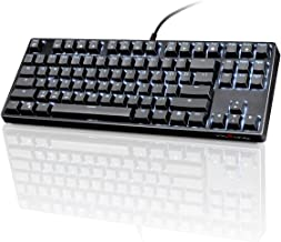VELOCIFIRE TKL02 Mechanical Keyboard TKL 87 Key Tenkeyless Ergonomic with Quiet Brown Switches, and White LED Backlit for Copywriters, Typists and Programmers