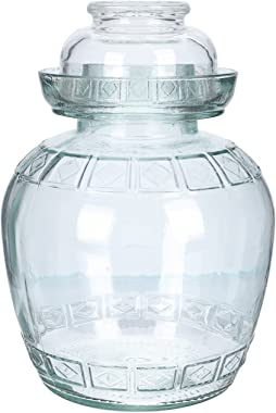 Cabilock 1 Set Traditional Chinese Glass Fermenting Jar Fermentation Crock with Water Seal Airlock Lid for Vegetables Picklin