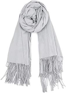 Women Soft Cashmere Blanket Scarf Tassel Solid Color Warm Shawl Scarf