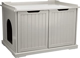 XL Wooden Litter Box Enclosure for Standard or Large Size Litter Box, Gray