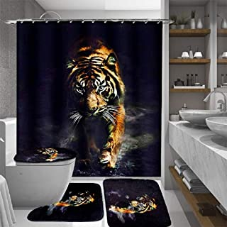 dDanke 4Pcs Shower Curtain Set Polyester Tiger Shower Curtain Lid Toilet Cover Bath Mat Rug with Hooks Bathroom Accessory ...