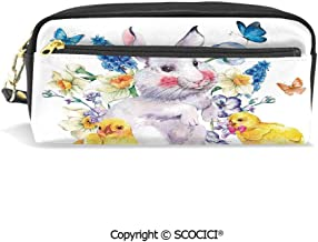 Students PU Pencil Case Pouch Women Purse Wallet Bag Vintage Easter Illustration with Happy Cute Bunny Chickens Flowers and Butterflies Waterproof Large Capacity Hand Mini Cosmetic Makeup Bag