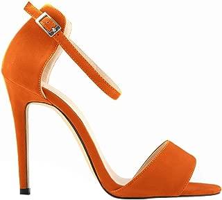 Wotefusi Women Summer Open Toe Bandage Ankle Strap Party Club Sandals Orange 11B(M) US