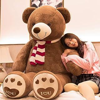 AIXINI ぬいぐるみ 特大 くまさん/クマ/テディベア 可愛い熊 動物 大きい/巨大/ビック くまのぬいぐるみ/熊縫い包み/クマ抱き枕 /柔らかいふわふわ ガールフレンドお祝いお誕生日プレゼント(160cm, スカーフ)