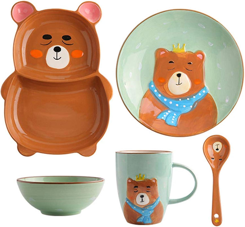 Couverts pour enfants Set mignon petit ours en céramique bol assiette de salade Creative petite cuillère marron (Couleur   6911101900)