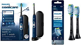 Philips Sonicare Protective Clean 6100 Navy Blue and 2 pack Premium Plaque Control Brush Head Bundle