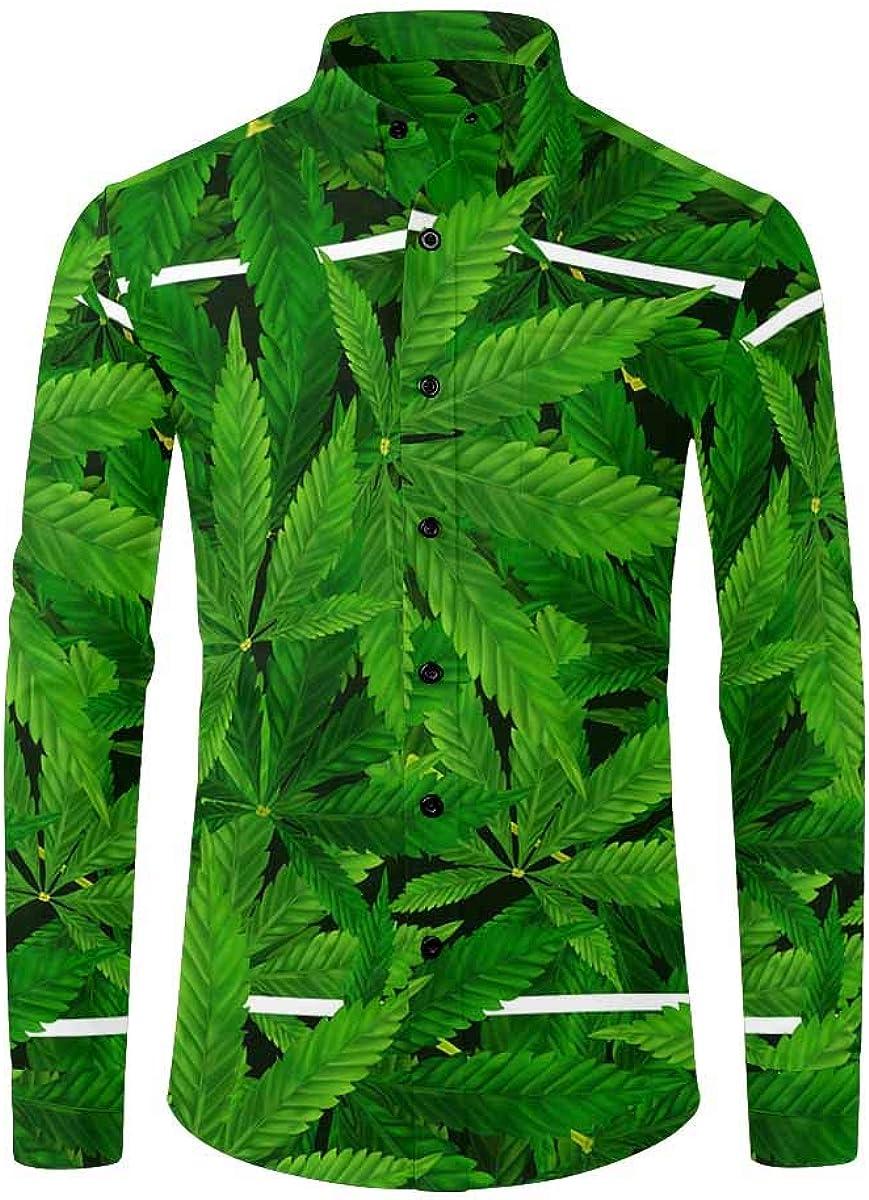 InterestPrint Men's Long Sleeve Shirt with Chest Pocket Marble Texture Golden Pattern