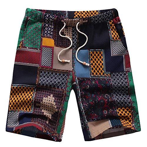 YEBIRAL Herren Leinenshorts Kurze Leinenhose Sommer Vintage ethnischen Stil Kariert Casual Shorts Badeshorts(M,Mehrfarbig)