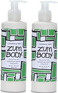 Zum Rosemary-Mint Body Lotion (Pack of 2) with Dandelion, Red Clover, Shea Butter, Aloe, Meadowfoam Seed Oil, Avocado, Jojoba Oil, Sweet Almond, Rosemary, Chamomile, Sea Kelp and Ginseng, 8 oz