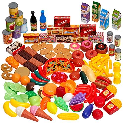 THE TWIDDLERS 150 Pezzi Set Cibo Alimenti Cucina Giocattolo per Bambini - Regalo per Bambini 3+ Anni
