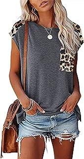 Primavera y Verano Cuello Redondo Costura Estampado de Leopardo Bolsillo Camiseta de Manga raglán Suelta Casual Top Mujeres