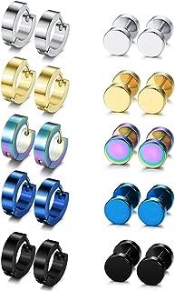 10 Pairs Hoop Earrings Gauge Earrings for Men Women Stainless Steel Cool Earrings Set