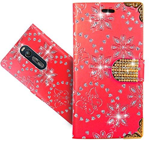 FoneExpert® Zenfone 2 (ZE550ML/ZE551ML) Handy Tasche, Bling Diamant Wallet Hülle Flip Cover Hüllen Etui Hülle Ledertasche Lederhülle Schutzhülle Für ASUS Zenfone 2 (ZE550ML/ZE551ML) 5.5