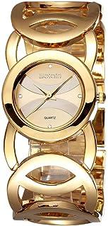 Lindo e adorável relógio de pulso dourado com pulseira redonda vazada de aço inoxidável, à prova d'água, pulseira de luxo ...