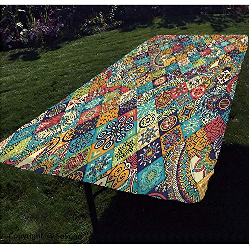 Bohemian Polyester Fitted Tablecloth,Checkered Pattern with Ethnic Ornamental Floral Figures Ethnic Folk Art Abstract Decorative Rectangular Elastic Edge Fitted Table Cover,Fits Rectangular Tables 48x