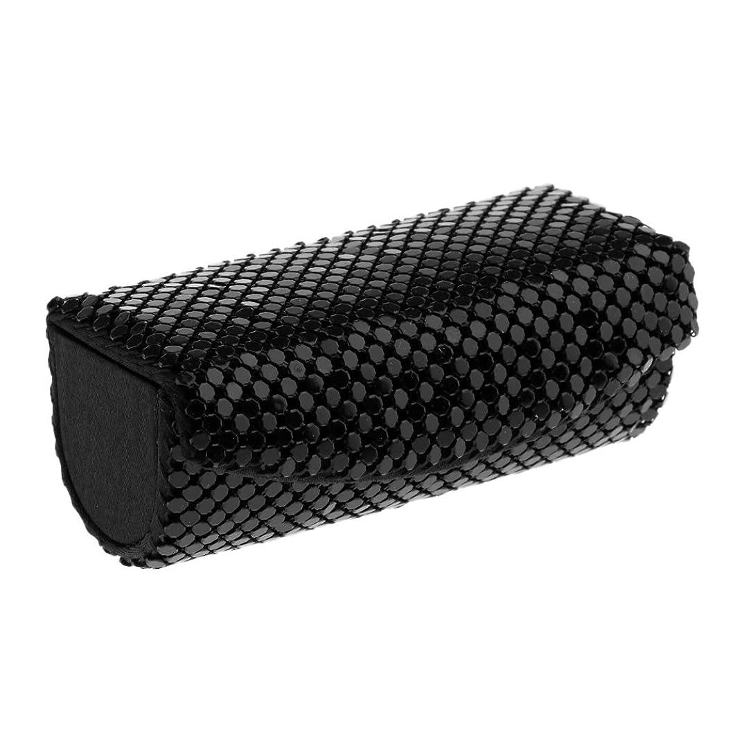 二層アルバニーそれによってPerfk 化粧収納ケース コスメ収納 リップスティック リップグロス オイル 口紅 収納ケース 四葉のクローバー ミラー 付き メイクアップ 6色選べる - ブラック