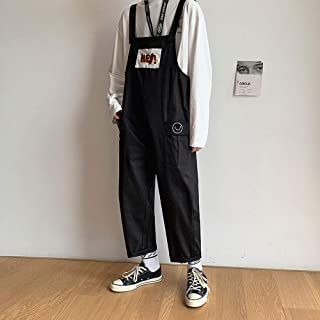 Boy Fashion Bib Overalls Couple Wear Loose Jumpsuit Dungarees Casual Nine-Point Pants Japanese Suspenders,Black,XXL