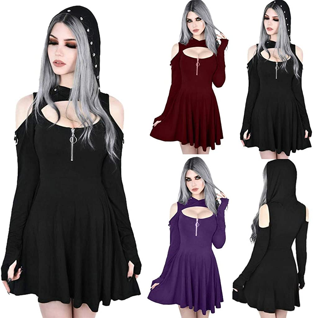 JUNLIN Short Black Dress Long It is very popular Cutout Easy-to-use Zipper Punk Sleeve Hoodies
