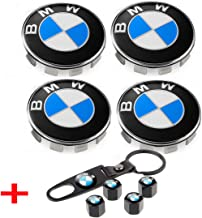 Toolacc Wheel Center Caps fit for BMW, 4Pcs 68mm RimHub Caps Emblem Badge Replacement + Set of 4 Tire Valve Covers Fit for BMW 1 3 5 6 7 X Z Series