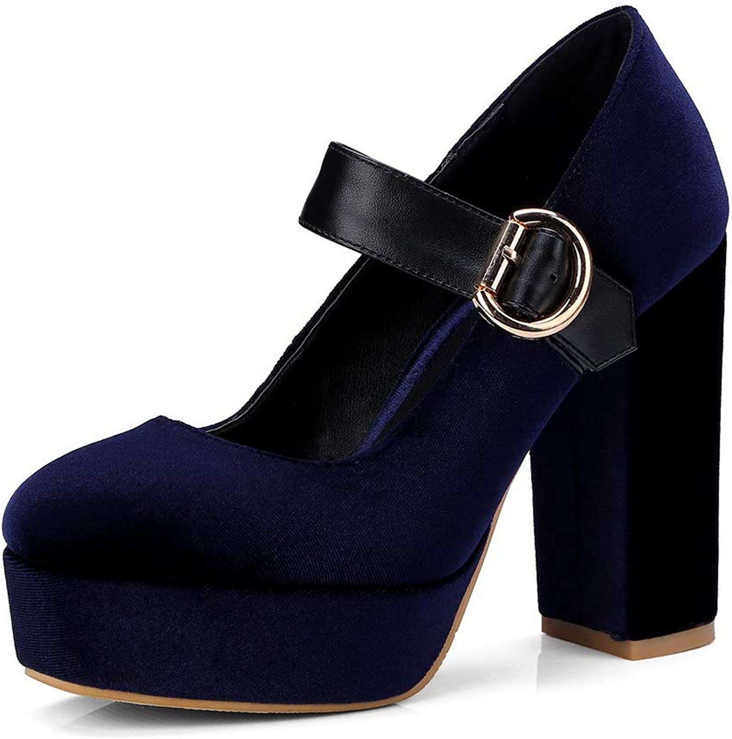 AN Womens Buckle Chunky Heels Platform Imitated Suede Pumps shoes DGU00730