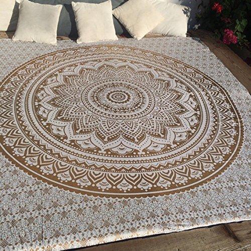 Traditioneller indischer Mandala-Hippie-Wandbehang, Baumwolle, Wandteppich im Boheme-Stil, Ombre, Tagesdecke, baumwolle, goldfarben, Queen(84x90 Inches)(215x230 Cm)