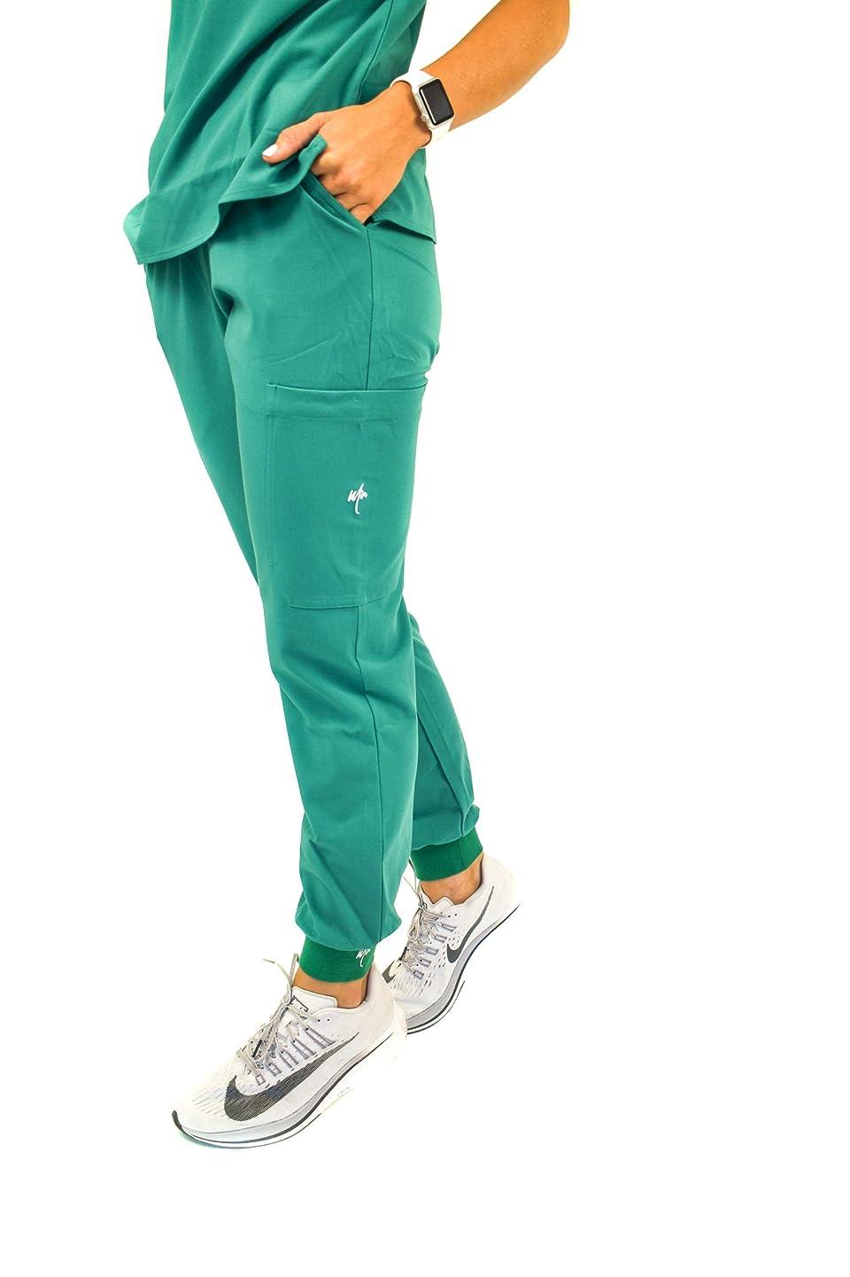 Mim Jogger Scrub Pants for Women, Skinny Leg Joggers, Ceil Blue, Black, Navy Blue, Green