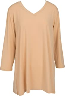 Mountain Mamas Essential V-Neck Tunic Shirt for Women, 3/4 Sleeve,