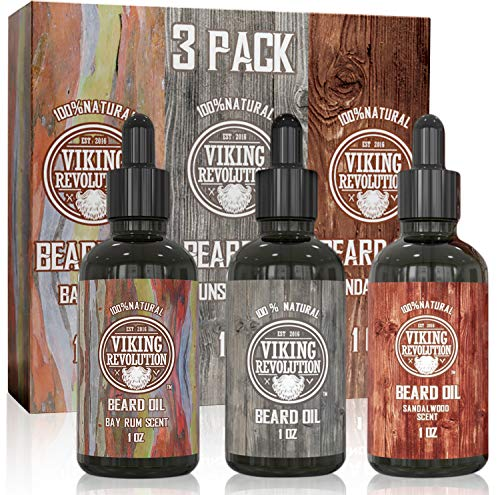 Beard Oil Conditioner 3 Pack (Variety 2 - 3Pack Mix Bay Rum, Unscented, and Sandalwood Oil
