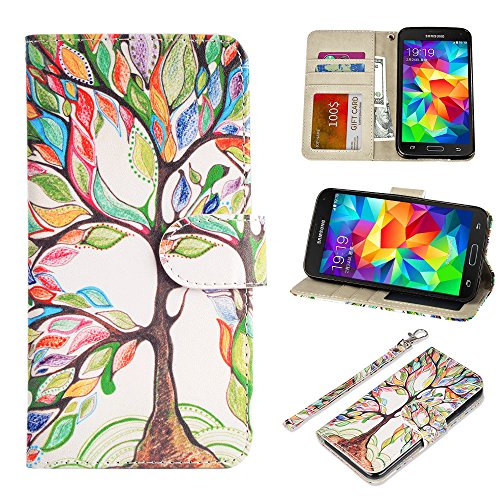 S5 Case, UrSpeedtekLive Galaxy S5 Wallet Case, Premium PU Leather Wristlet Flip Case Cover with Card Slots & Stand Compatible Samsung Galaxy S5, Love Tree