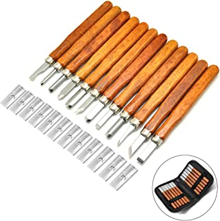 14 Pieces Wood Carving Tools Set, Wax & Wood Carving Knife with Whetstones, Storage Case and Safety Cap for Rubber, Small Pumpkin, Soap, Vegetables and More