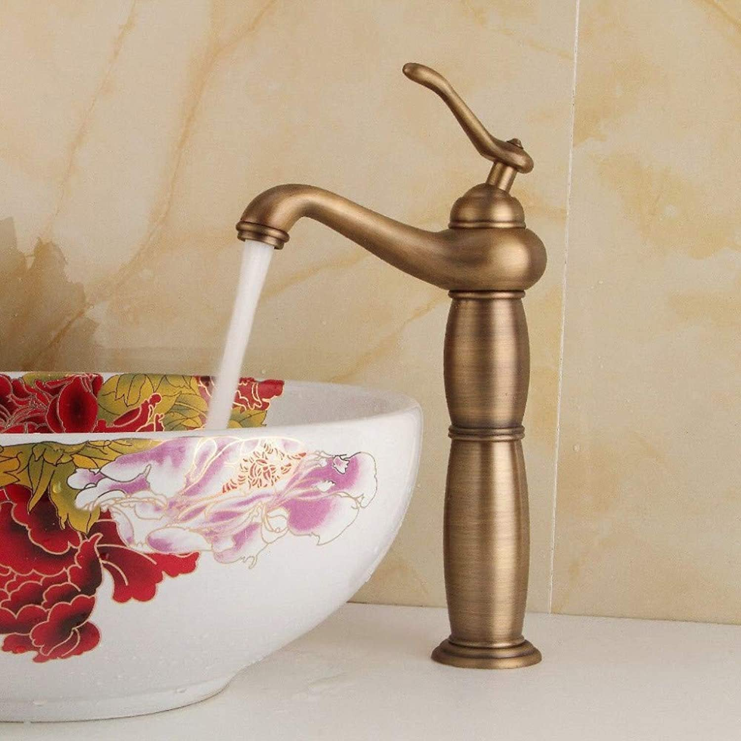 Faucet Spout Bathroom Sink Faucet Sink Mixer Tap for Lavatory Vanity Sink Faucethot and Cold Water Brass Retro Faucet Basin Mixer Tap
