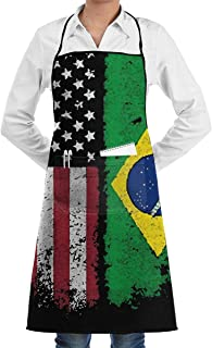 Vintage Brazilian American Flag Adjustable Apron for Mens and Womens, Traditional Polyester Work Apron with Pocket