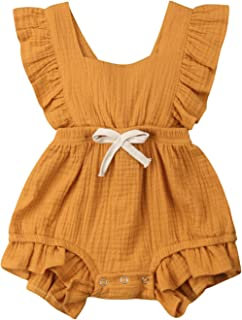 Toddler Baby Girl Ruffled Rompers Sleeveless Cotton Romper Bodysuit Jumpsuit Clothes
