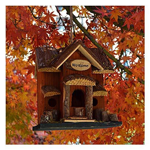 SUIBIAN Jardin d'oiseaux en Bois Maison, extérieur Oiseaux Sauvages Simulation Hôtel Box Nest Cour Jardin Paysage Hanging Tree Box Aliments Peut être utilisé pour la Science écologique Observation,2