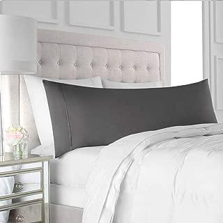 Precious Star Linen American Choice! Genuine 425 Thread count Egyptian Cotton Soft 1-Pieces Pillowcase Solid/Plain, Perfect Fitting for 20'' x 54'' Pillow (Body Pillowcase {20 x 60 Inch}, Dark Grey)