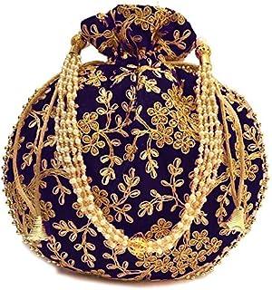 Zoya Gems & Jewellery Potli Wristlets Ethnic Potli For Women's | Designer Rajasthani Style Royal Clutch Silk Batwa | Zari ...