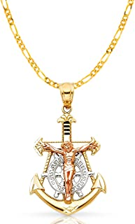 14K Tri Color Gold Jesus Crucifix Anchor Pendant with 2.3mm Figaro 3+1 Chain Chain Necklace