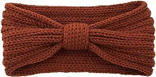 Snowlike Women's Wool Hair Band Bow Knit Hair Ring Hand-Woven Vintage Hair Band Warm Sports Headband Ear Cover