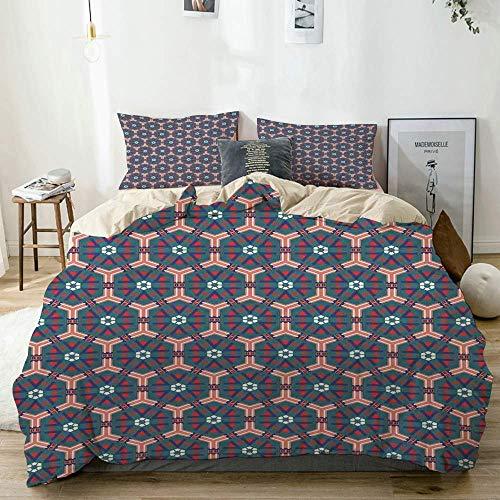 Juego de funda nórdica Beige, azulejos de mosaico marroquíes hexagonales ornamentales de cerámica victoriana estilo barroco, decorativo Juego de cama de 3 piezas con 2 fundas de almohada Fácil cuidado