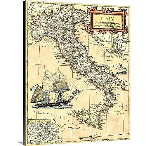 "Italy Map Canvas Wall Art Print, 16""x20""x1.25"""