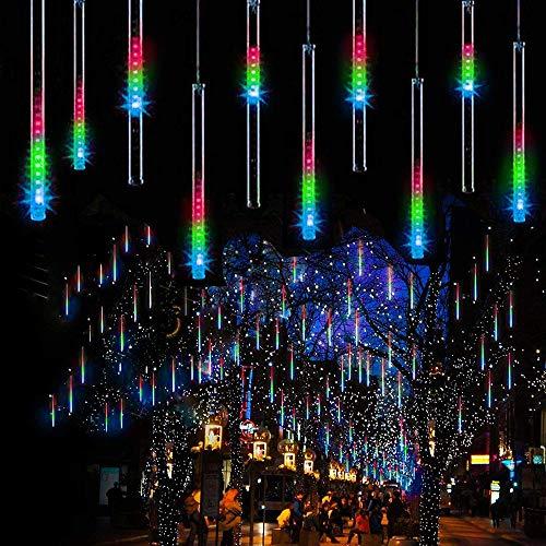 BrizLabs Meteor Shower Lights, 11.8 inch 10 Tubes 240 LED Rain Drop Lights Icicle Falling Snow Christmas Lights Outdoor, Plug in Cascading Lights with Timer for Tree Garden Party Holiday, Multi Color