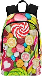 Colorful Lollipops and Different Colored Round Can Casual Daypack Travel Bag College School Backpack for Mens and Women