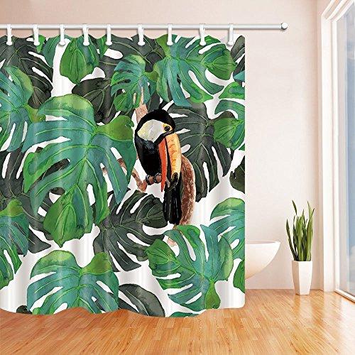 CDHBH Aquarellpapier Monster Deko Vogel Tukan in Tropical Tree-Schimmel resistent Stoff Polyester Duschvorhänge für Badezimmer Duschvorhang Haken inklusive 71x 71in