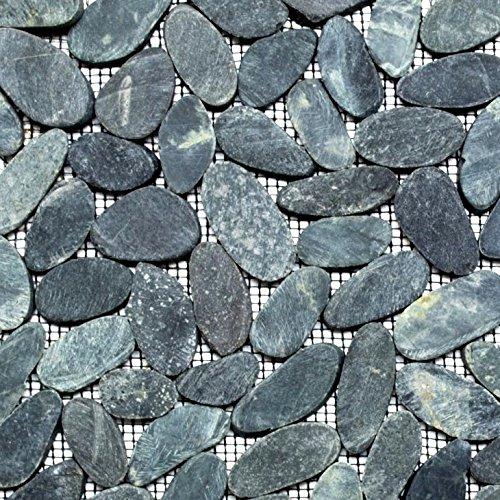 Mosaik Fliese Flußkiesel Steinkiesel Kiesel geschnitten schwarz für BODEN WAND BAD WC DUSCHE KÜCHE FLIESENSPIEGEL THEKENVERKLEIDUNG BADEWANNENVERKLEIDUNG Mosaikmatte Mosaikplatte